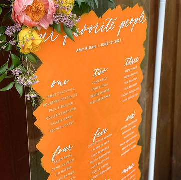 Painted Back Acrylic Seating Chart