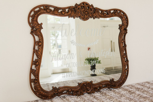 Vintage Mirror Welcome Sign