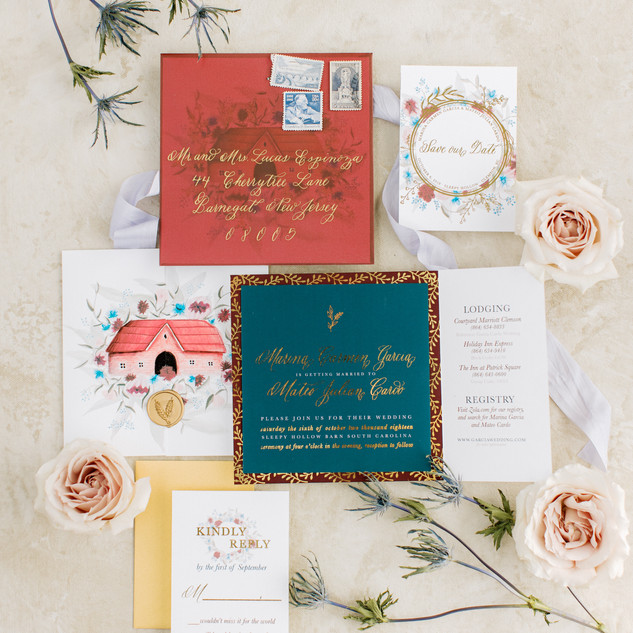 Gold Foiled Spot Calligraphy Invitation Suite