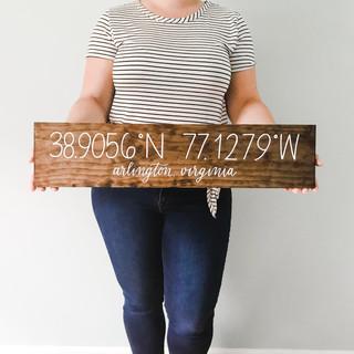 Wood Coordinate Sign