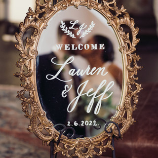 Gold Mirror Welcome Sign