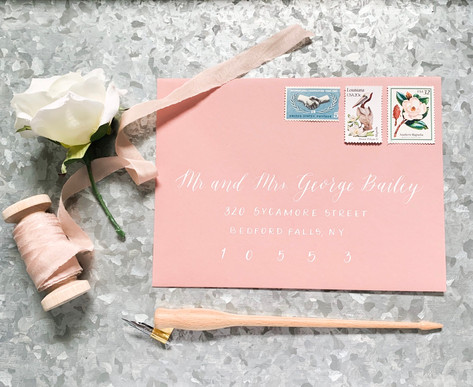 Blush Envelope Calligraphy with Vintage Stamps