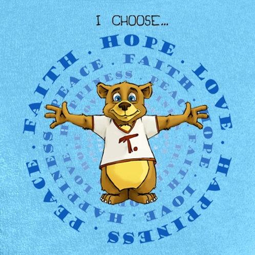 Todd T. Bear T-shirt Peace, Faith, Hope, Love, Happiness