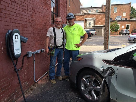 E-vehicle charging station at Local Roots, Wooster