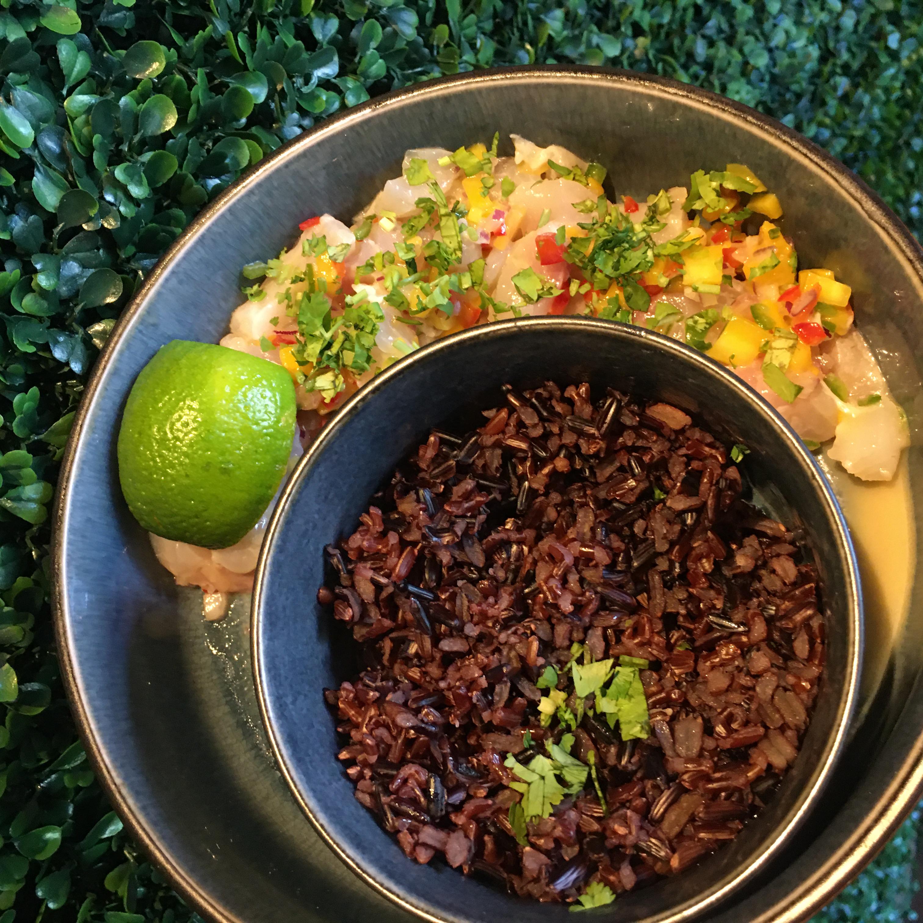Ceviche de daurade à l'eau de coco et au