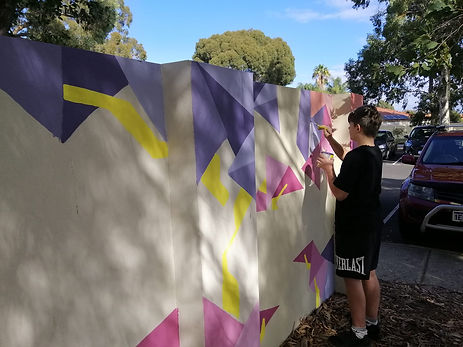 Creating a mural at Armadale Community Centre