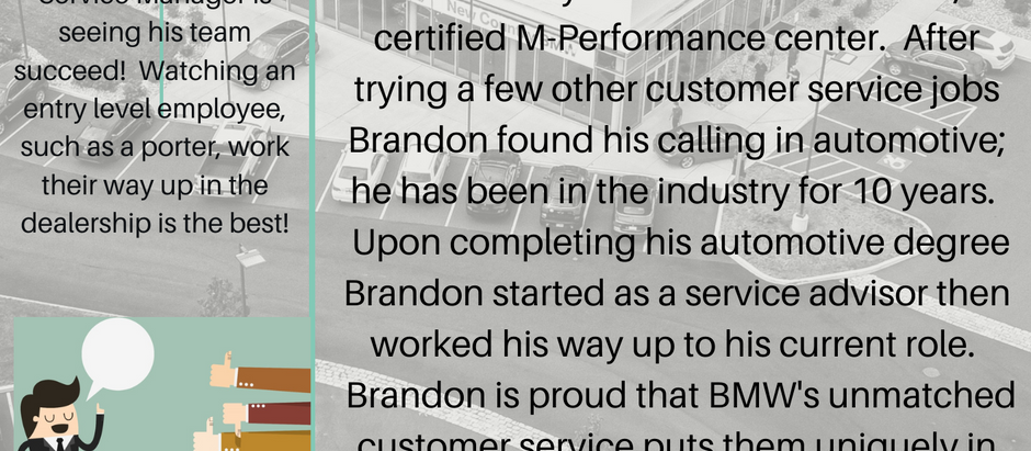 Dealer Spotlight #6, Brandon Small from New Country BMW of Hartford, CT!