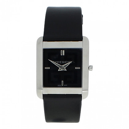 Givenchy Black Silver Leather Simple Square Men's