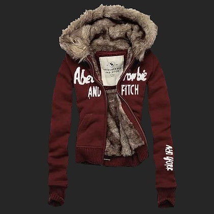 Abercrombie Fitch Womens Fur Hoody Coat Dark Red