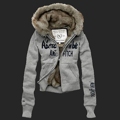 Abercrombie Fitch Womens Fur Hoody Coat Light Grey