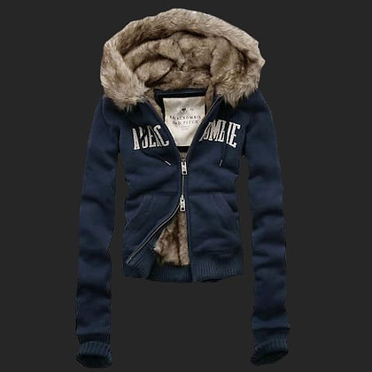 Abercrombie And Fitch Fur Hoody Coat Royal Blue