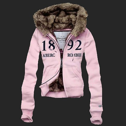 Abercrombie Fitch Womens Fur Hoody Coat Light Pink
