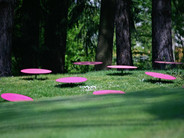 Environnement à pois roses, parc de sulptures d'Ar'Milin, Châteaubourg.JPG