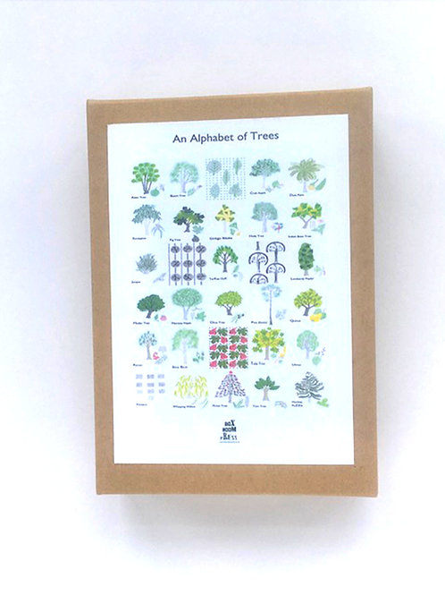 An Alphabet of Trees pack of note cards, 10 cards 2 of each design.