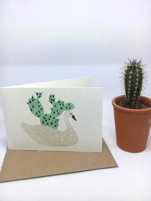 Swan vase greetings card (BRP55)