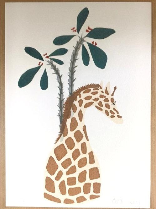 Giraffe vase with Euphorbia limited edition screen print