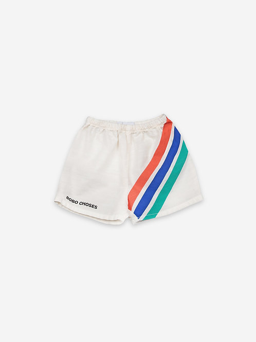 Crosswise stripes woven shorts