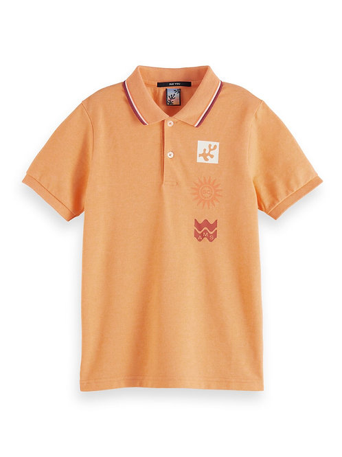 Short sleeve polo with colourful tipping and artwork