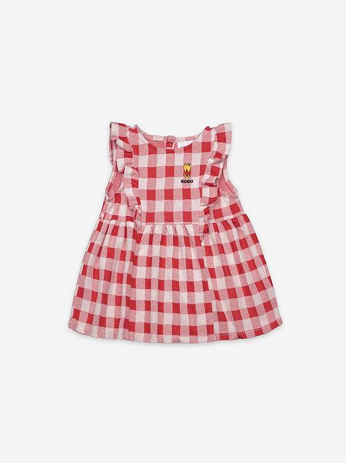 Vichy all over jersey ruffle dress