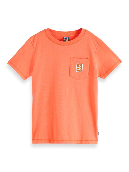 Short sleeve tee with pocket and label in organic cotton