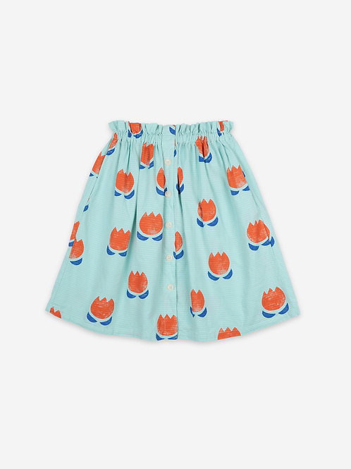 Chocolate flowers all over buttoned midi skirt