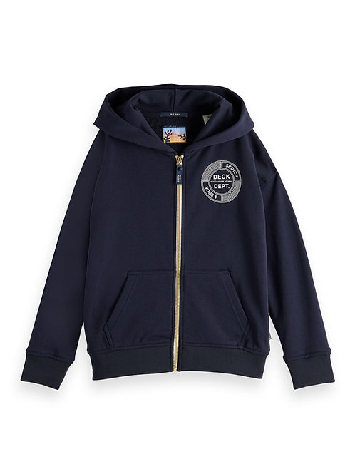 Zip-through hoodie with subtle artwork