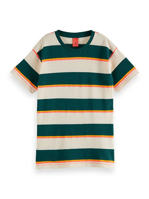 Yarn dyed stripe short sleeve cotton-linen tee