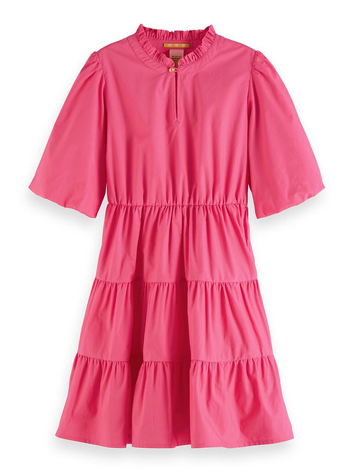 Crispy cotton a-line dress with voluminous sleeves