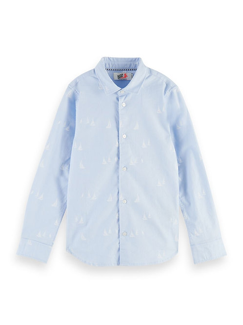 Slim fit oxford shirt with mini all-over print