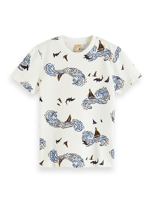 Short sleeve pique tee with all-over print