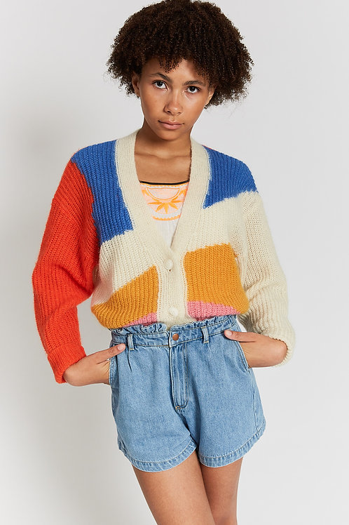 Jannis papaya colorful knit cardigan