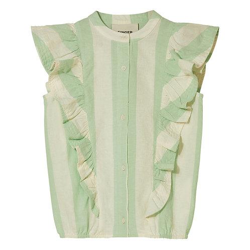 Winger sleeveless flounced top