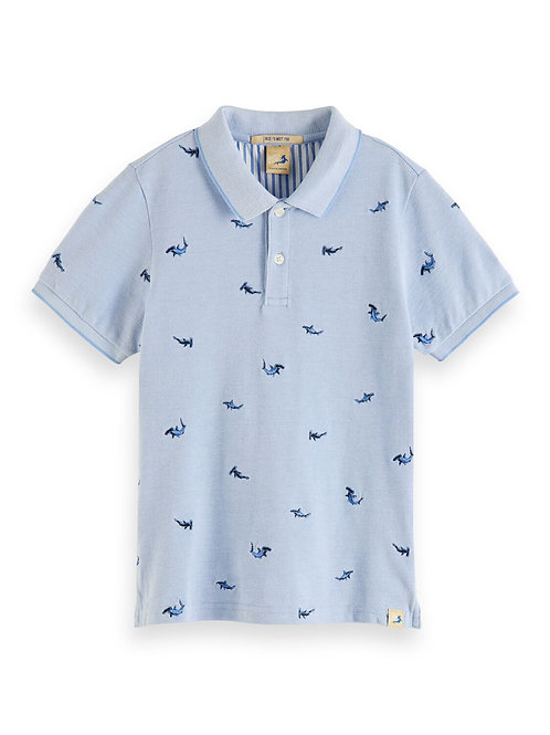 Short sleeve polo with all-over embroidery