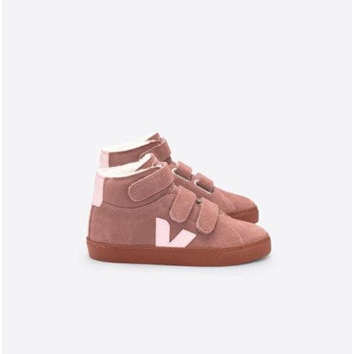 Fured suede dried petal rose/black white cobalt sneaker