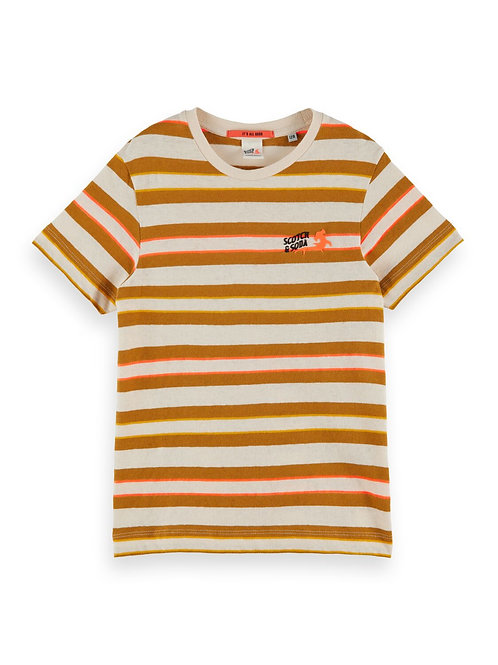 Short sleeve yarn dyed stripe tee in cotton-linen quality