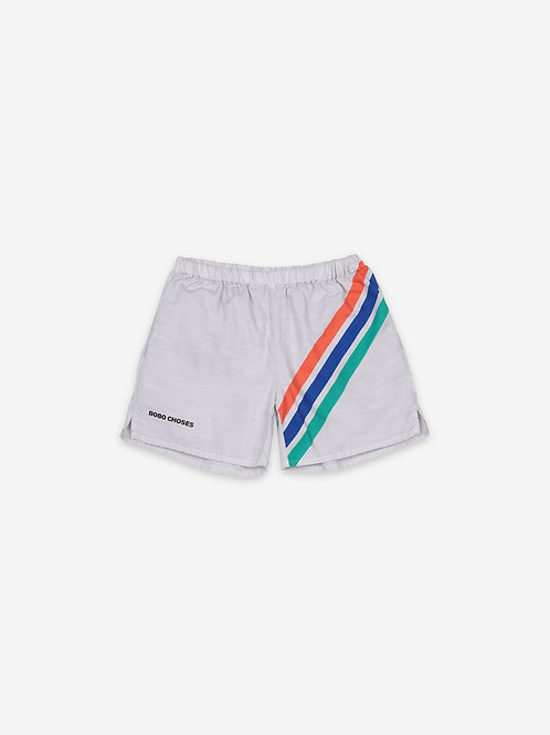 Crosswise stripes woven shorts