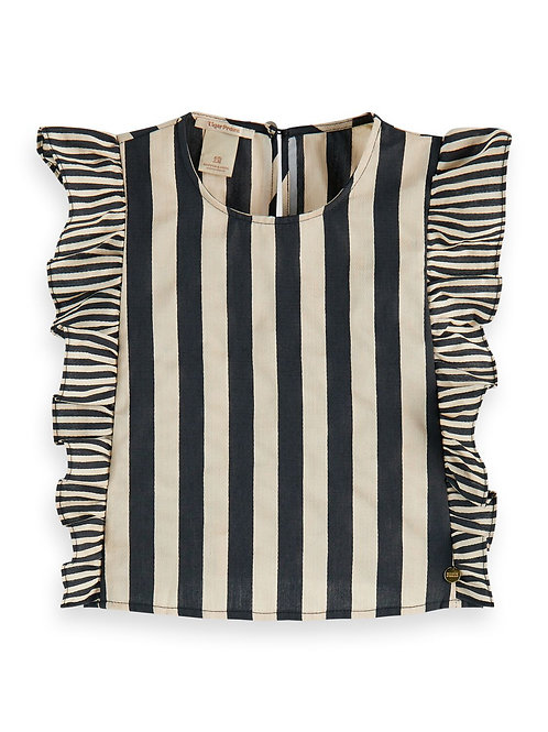 Linen mix striped boxy fit top with ruffles