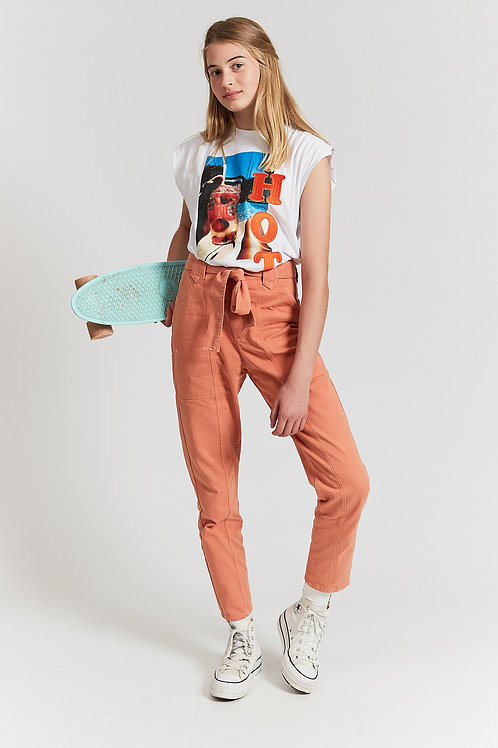 Jungle pottery tapered trousers with belt