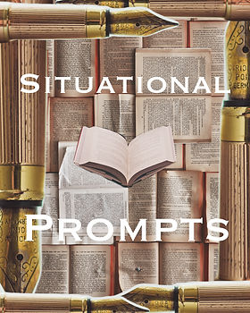 "Pages upon pages of text layers atop one another with an open book in the center and fountain pens. The title ""Situational Prompts"" frames the open book of this article on writing."