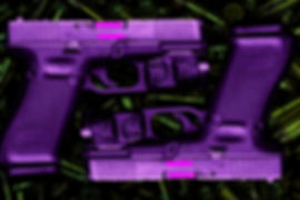 Two purple glocks on a sea of green bullets