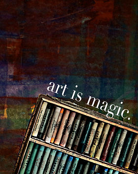 "A box of oil pastels on an abstract art backdrop for the poetry cover of ""art is magic."""
