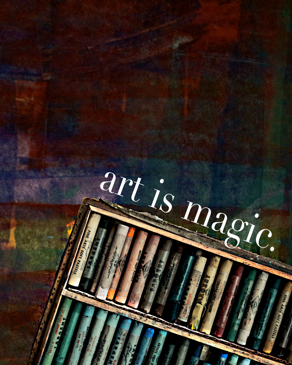 """Open oil pastel box with abstract pastel art background with poetry title """"art is magic."""""""