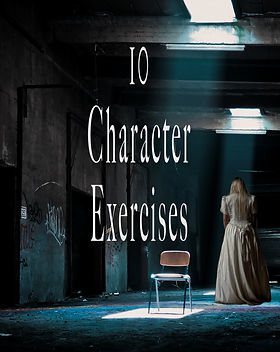 "An abandoned warehouse with a chair in the center and a ghostly blonde girl to its right. The title reads ""10 Character Exercises"" on this article cover."