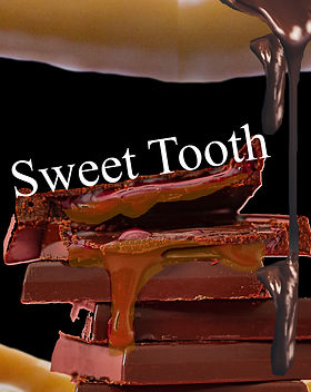 "Caramel dripping out of a chocolate bar with title ""Sweet Tooth"""