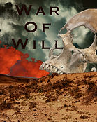 "A large human skull in a sand dune of a desert with the title of a poetry collection ""War Of Will"""
