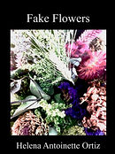 "A bundle of dried flowers on a black background with book cover title ""Fake Flowers"""