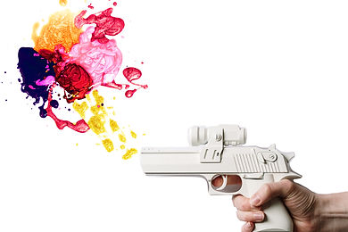 A pistol shooting abstract art