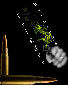 "Two bullets in the bottom lefthand corner of the image with a gun shooting green smoke closer to the righthand side. The title ""Trigger Warnings"" is typed for this cover about art."