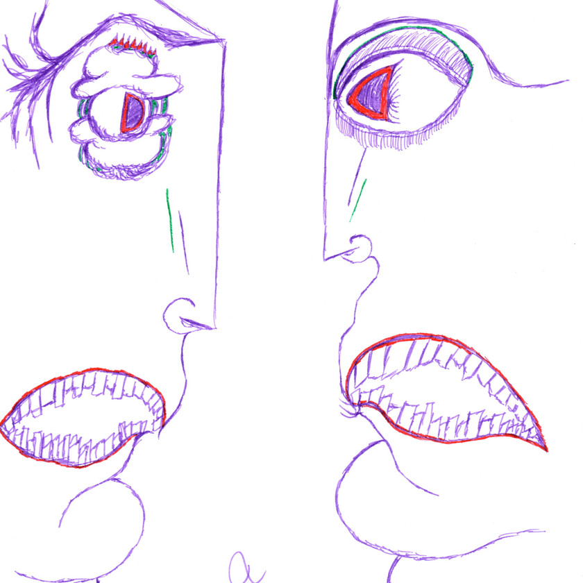 Surrealist Art | Two faces staring at each other, yelling, done in purple