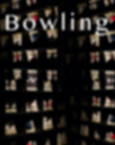 """Rows of bowling shoes with lettering over it that says """"Bowling"""" as a poem cover"""